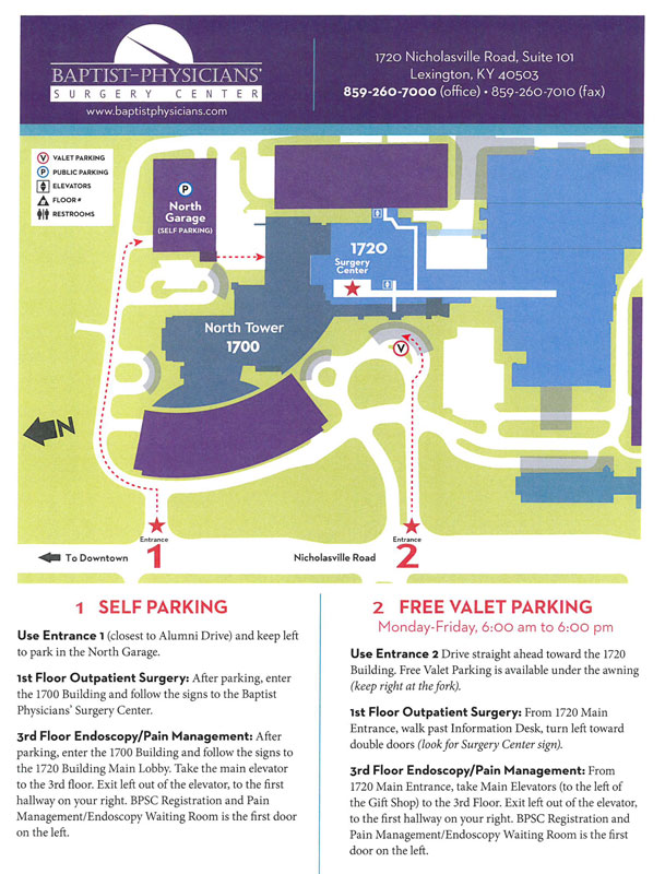 Baptist Health Parking Directions